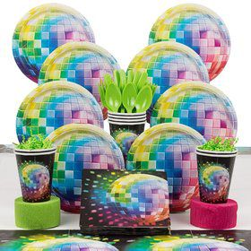 70's Disco Fever Birthday Party Deluxe Tableware Kit Serves 8