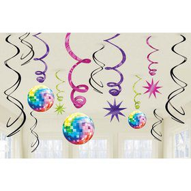 70's Disco Fever Hanging Foil Swirl Decorations (Each)