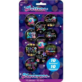 70's Disco Metal Buttons (10 Pack)