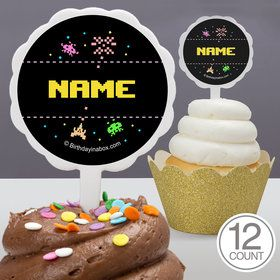 80S Personalized Cupcake Picks (12 Count)