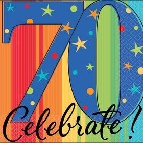A Year To Celebrate 70Th Birthday Beverage Napkins