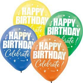 "A Year To Celebrate Happy Birthday 11"" Latex Balloons (15 Pack)"