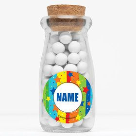 """A Year To Celebrate Personalized 4"""" Glass Milk Jars (Set of 12)"""