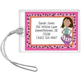African American Funky Girl Personalized Luggage Tag (each)