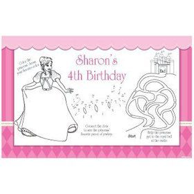 African American Princess Personalized Activity Mat (8-pack)