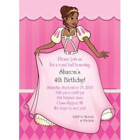 African American Princess Personalized Invitation (each)