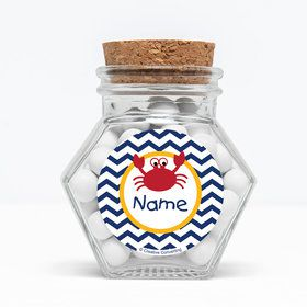 """Ahoy Matey Personalized 3"""" Glass Hexagon Jars (Set of 12)"""