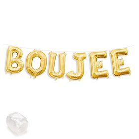 """Air-Fillable 13"""" Gold Letter Balloon Banner Kit """"BOUJEE"""""""