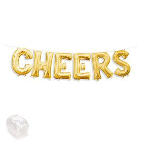 """Air-Fillable 13"""" Gold Letter Balloon Banner Kit """"CHEERS"""""""