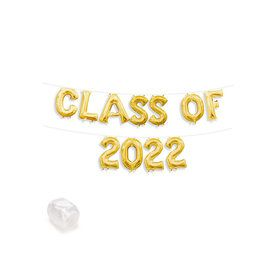 "Air-Fillable 13"" Gold Letter Balloon Banner Kit ""CLASS OF 2019"""