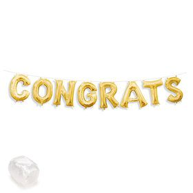 "Air-Fillable 13"" Gold Letter Balloon Banner Kit ""CONGRATS"""