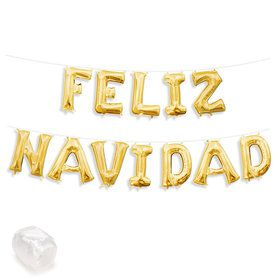 "Air-Fillable 13"" Gold Letter Balloon Banner Kit ""FELIZ NAVIDAD"""