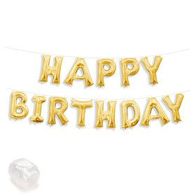 "Air-Fillable 13"" Gold Letter Balloon Banner Kit ""HAPPY BIRTHDAY"""