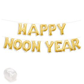 """Air-Fillable 13"""" Gold Letter Balloon Banner Kit """"HAPPY NOON YEAR"""""""