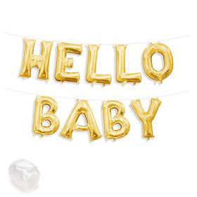 "Air-Fillable 13"" Gold Letter Balloon Banner Kit ""HELLO BABY"""