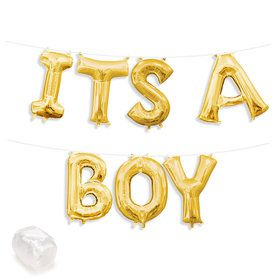 "Air-Fillable 13"" Gold Letter Balloon Banner Kit ""ITS A BOY"""