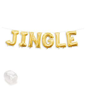"Air-Fillable 13"" Gold Letter Balloon Banner Kit ""JINGLE"""