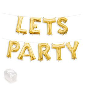 """Air-Fillable 13"""" Gold Letter Balloon Banner Kit """"LETS PARTY"""""""