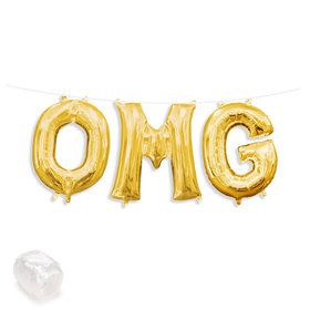 "Air-Fillable 13"" Gold Letter Balloon Banner Kit ""OMG"""