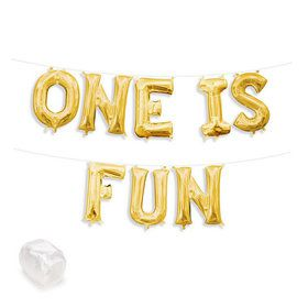 """Air-Fillable 13"""" Gold Letter Balloon Banner Kit """"ONE IS FUN"""""""
