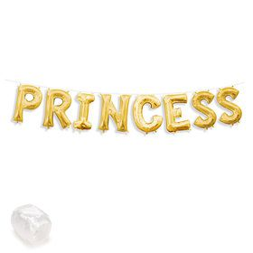 "Air-Fillable 13"" Gold Letter Balloon Banner Kit ""PRINCESS"""