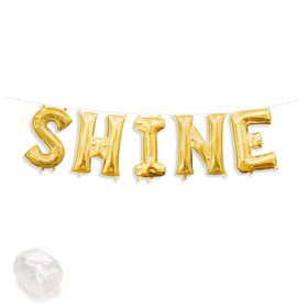 "Air-Fillable 13"" Gold Letter Balloon Banner Kit ""SHINE"""