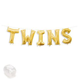 """Air-Fillable 13"""" Gold Letter Balloon Banner Kit """"TWINS"""""""