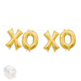 "Air-Fillable 13"" Gold Letter Balloon Banner Kit ""XOXO"""