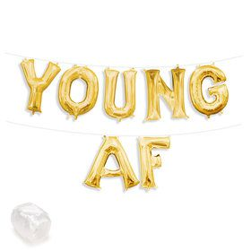 "Air-Fillable 13"" Gold Letter Balloon Banner Kit ""YOUNG AF"""