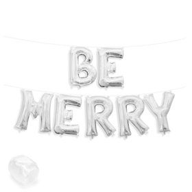 "Air-Fillable 13"" Silver Letter Balloon Banner Kit ""BE MERRY"""