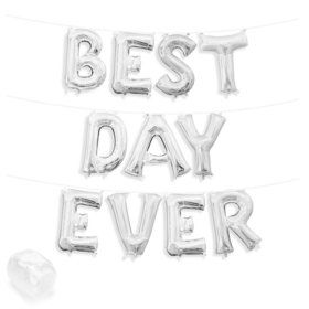 "Air-Fillable 13"" Silver Letter Balloon Banner Kit ""BEST DAY EVER"""