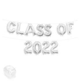 "Air-Fillable 13"" Silver Letter Balloon Banner Kit ""CLASS OF 2019"""