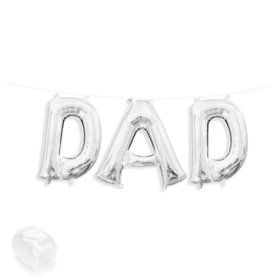 "Air-Fillable 13"" Silver Letter Balloon Banner Kit ""DAD"""