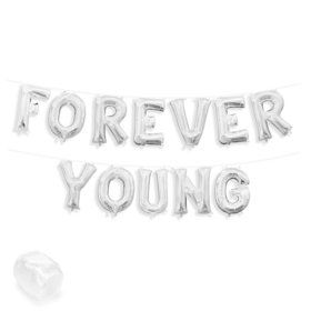 "Air-Fillable 13"" Silver Letter Balloon Banner Kit ""FOREVER YOUNG"""
