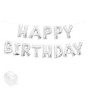 "Air-Fillable 13"" Silver Letter Balloon Banner Kit ""HAPPY BIRTHDAY"""