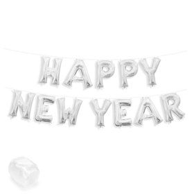 """Air-Fillable 13"""" Silver Letter Balloon Banner Kit """"HAPPY NEW YEAR"""""""