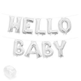 "Air-Fillable 13"" Silver Letter Balloon Banner Kit ""HELLO BABY"""