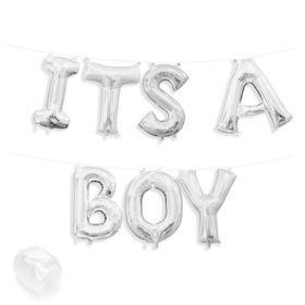"""Air-Fillable 13"""" Silver Letter Balloon Banner Kit """"ITS A BOY"""""""