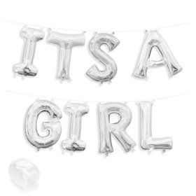 """Air-Fillable 13"""" Silver Letter Balloon Banner Kit """"ITS A GIRL"""""""
