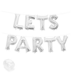 "Air-Fillable 13"" Silver Letter Balloon Banner Kit ""LETS PARTY"""