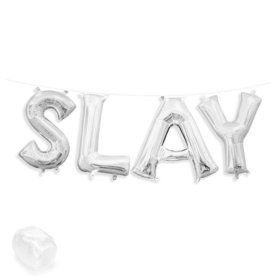 "Air-Fillable 13"" Silver Letter Balloon Banner Kit ""SLAY"""