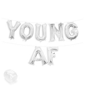 "Air-Fillable 13"" Silver Letter Balloon Banner Kit ""YOUNG AF"""