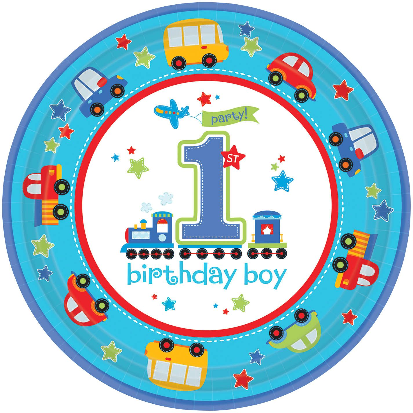 """All Aboard 1St Birthday 10 1/2"""" Luncheon Plates (18 Pack) BB721421"""