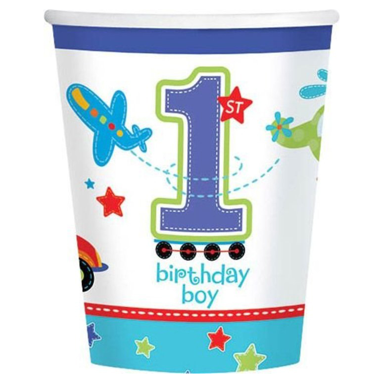 All Aboard 1st Birthday 9oz Cups (18 Pack) - Party Supplies BB731421