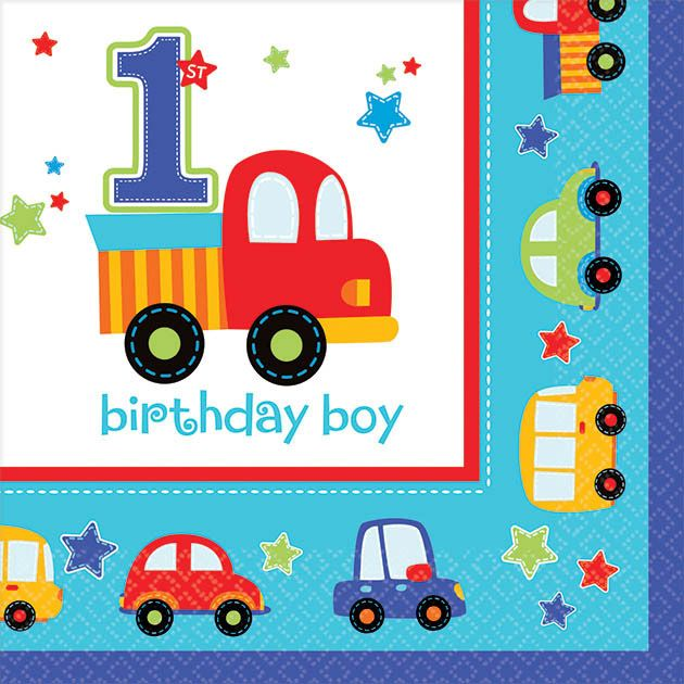 All Aboard 1st Birthday Beverage Napkins (36 Pack) - Party Supplies BB701421