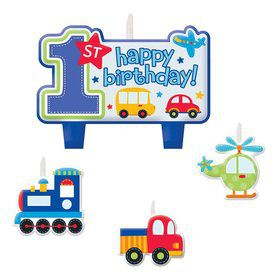All Aboard 1st Birthday Candle Set (4 Pack)
