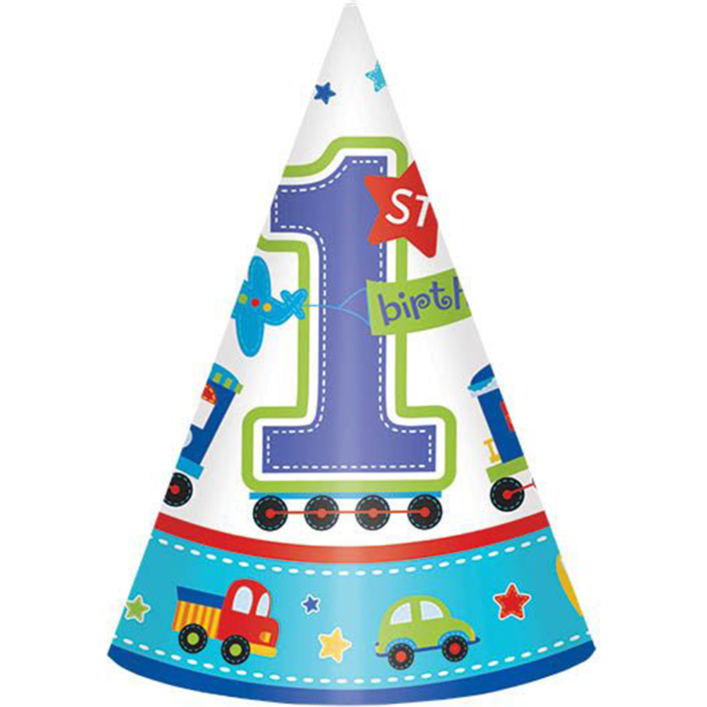 All Aboard 1st Birthday Cone Hats (8 Pack) - Party Supplies BB250318