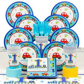 All Aboard 1st Birthday Deluxe Tableware Kit Serves 36