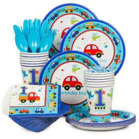 All Aboard 1st Birthday Standard Tableware Kit Serves 36