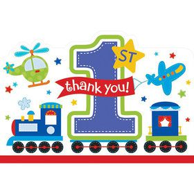 All Aboard 1st Birthday Thank You Notes (8 Pack)